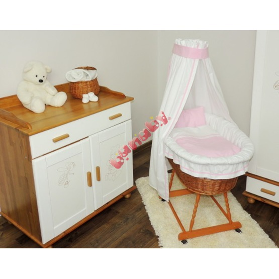 Wicker basket for baby with pink set bedding
