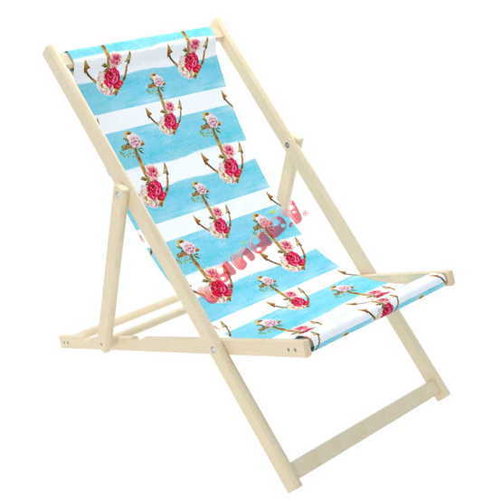 Beach chair Anchors with flowers - blue-white