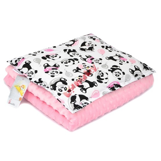 Baby blanket and pillow M Panda - pink
