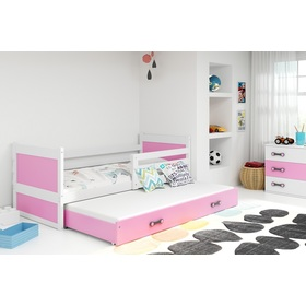 Baby bed with extra bed Rocky - white-pink, BMS