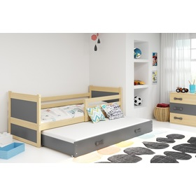 Baby bed with extra bed Rocky - natural-gray, BMS