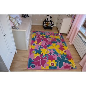 Kids Butterfly Children's Rug - Pink, F.H.Kabis