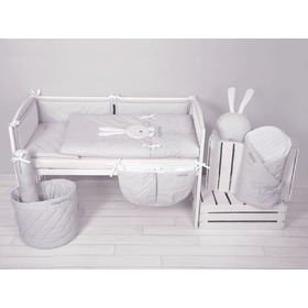 2-Piece Sleep & Hug Baby Cot Bedding Set - Grey, Modenex