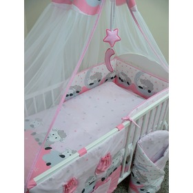 Bedding set for cribs 135x100cm Lamb - pink, Ankras