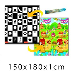 Children's Foam Play Mat - Chessboard + Lion's House 150 x 180 x 1 cm, IGRASZKA.S.C.