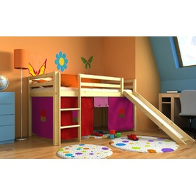 Children's loft bed Ourbaby Modo natural with slide, Litdrew