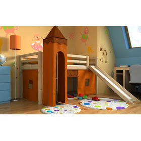 Children's loft bed Gabi with tower and a slide - pine
