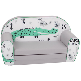 Children sofa Crocodile - gray-white
