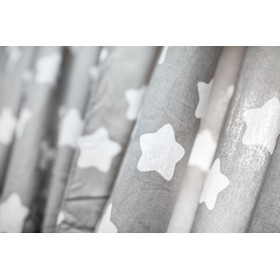 Curtains for children grey with white stars gingerbreads 10, Dom-Dekor