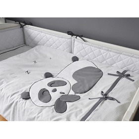 Bedding set 3-piece for children Panda - grey, Modenex