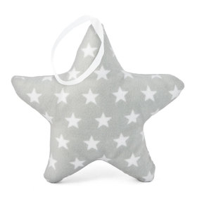 Suspendable decoration Star light grey with stars