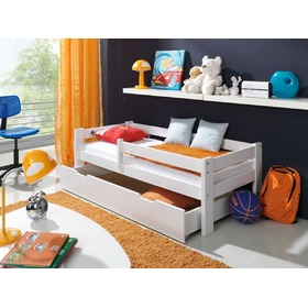 Children's Bed with Safety Rail - White