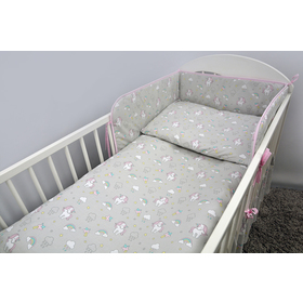 Crib bedding set 135x100 cm Pony - grey