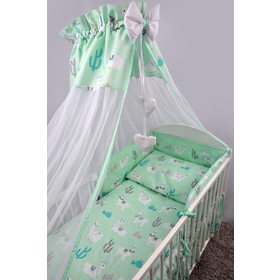 Bedding set for cribs 135x100 cm Lama - mint, Ankras