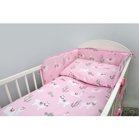 Bedding set for cribs 120x90 cm Lama - pink