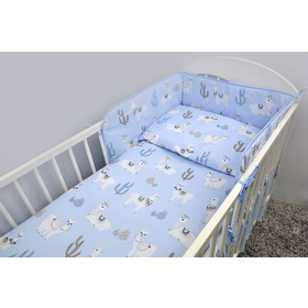 Set bed linen to cribs 120x90 cm Lama - blue