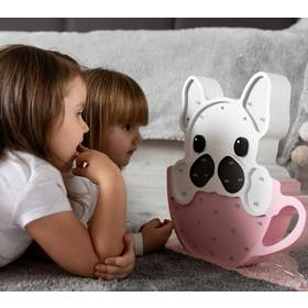 Children's wooden lamp ICE lamp Bulldog in cup - pink