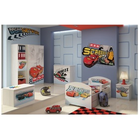 Children bed with barrier - Cars 2 - decor norwegian pine, BabyBoo, Cars
