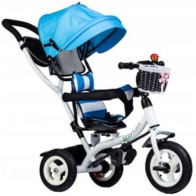 Tricycle Blue with guide bars and rotating seat - blue, EcoToys