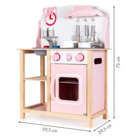 Ema wooden kitchen with effects - pink, EcoToys