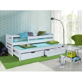 Praktik Children's Trundle Bed with Safety Rail - White, Ourbaby