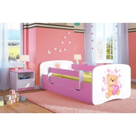 Ourbaby Children's Bed with Safety Rail - Teddy - Pink
