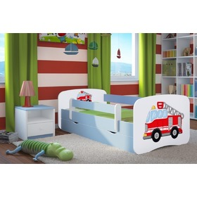 Ourbaby Children's Bed with Safety Rail - Fire Truck - Blue, Ourbaby