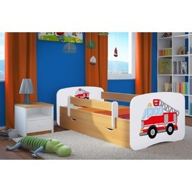 Ourbaby Children's Bed with Safety Rail - Fire Truck - Beech
