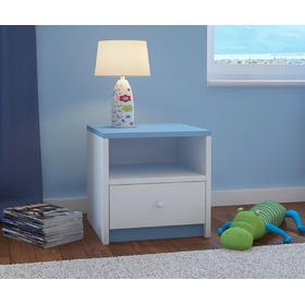 Ourbaby children's bedside table - blue-white, Ourbaby
