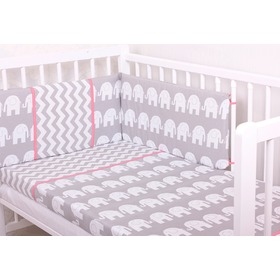 Linen to cribs - Elephants - grey, Gluck Baby