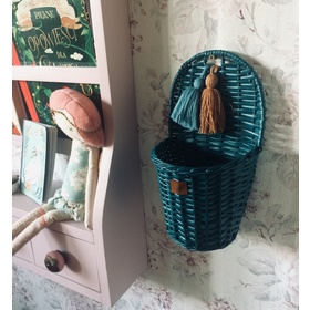 LILU Wicker basket on wall LU - turquoise, LILU