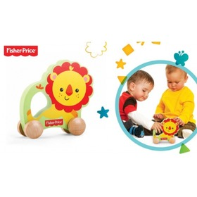 Fisher Price Wooden Rolling Lion, Fisher Price
