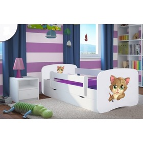 Ourbaby Children's Bed with Safety Rail - Kitty - White