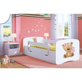 Ourbaby Children's Bed with Safety Rail - Teddy - White, All Meble