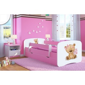 Ourbaby Children's Bed with Safety Rail - Teddy - Pink, All Meble