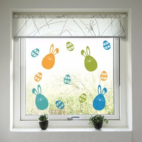 Easter decoration to window - Colorful bunnies a easter egg, Housedecor
