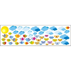 Envelope decoration Clouds a birds - 0,5 m2, Mint Kitten