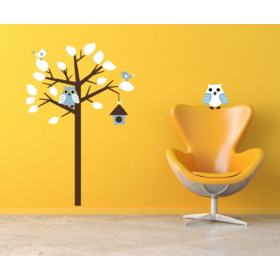 Sticker tree owls vinyl, Amsaid
