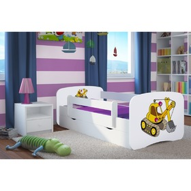 Children bed with barrier Ourbaby - excavator- white, All Meble