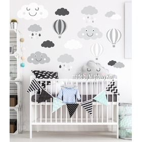 Wall Decoration - Grey-White Clouds and Balloons, Mint Kitten