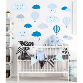 Wall Decoration - Grey-Blue Clouds and Balloons, Mint Kitten