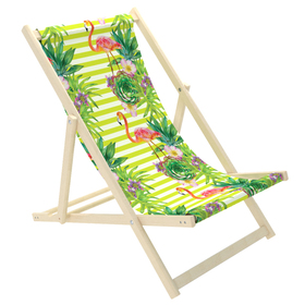 Children's beach lounger Flamingos and tropical flowers, CHILL