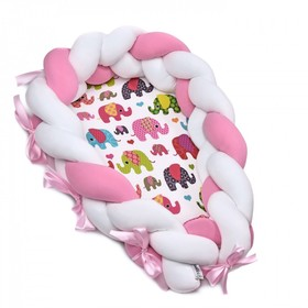 Baby nest 2in1 - Pink-white elephant, T-Tomi