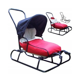 Children's sledge with backrest and fleece jacket - red, Guciopremium
