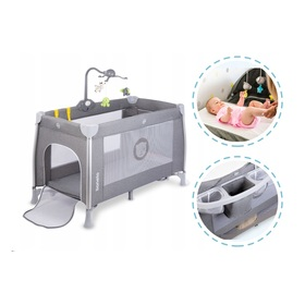 Travel cot LioneloO Simon - grey, Lionelo