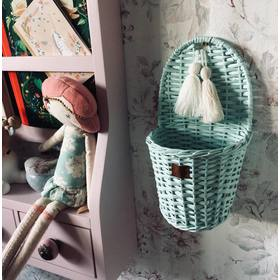 LILU Wicker basket on wall LU - light mint, LILU