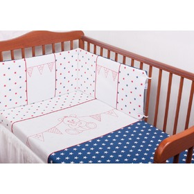 3-Piece Baby Cot Bedding Set - Colourful Teddy Bear, Gluck Baby
