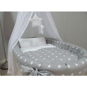 Wicker cot with equipment for baby - gray stars, BabyWorld