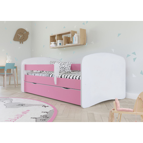 Children's bed with Ourbaby barrier - pink-white, All Meble